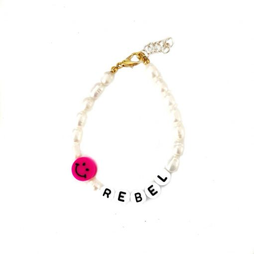 'REBEL' smiley parel armbandje