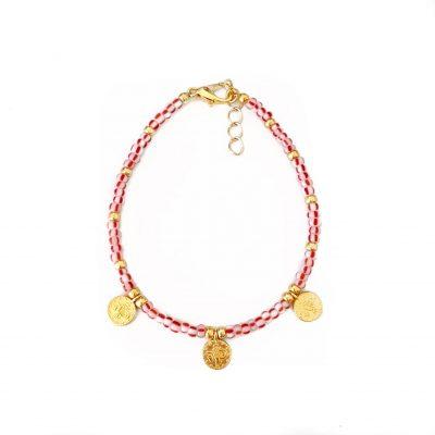 Rood drie muntjes goud armbandje