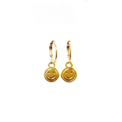 Smiley earrings goud