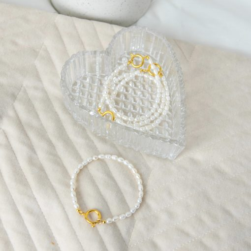 Gouden zoetwater parel armbandje