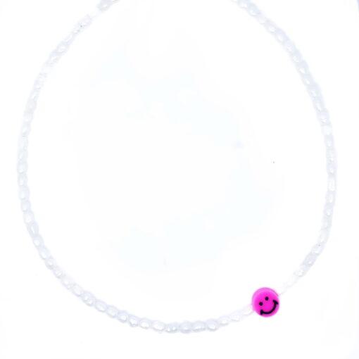 Smiley pearl kettinkje roze