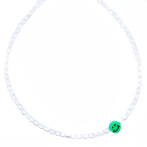 Smiley pearl kettinkje groen