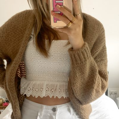 Soof knitted vestje taupe
