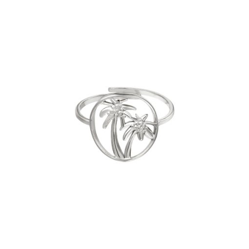 Palmboom ring zilver