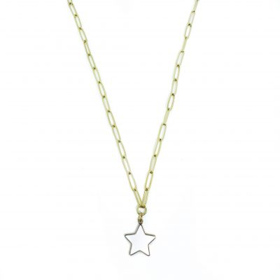 Ster chunky ketting wit goud