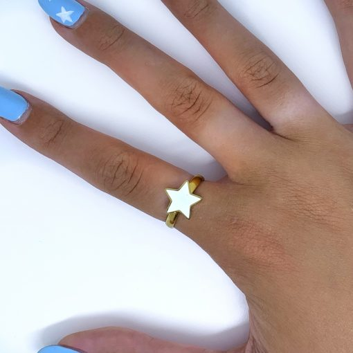 Ster ring wit goud